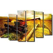Quadro Decorativo Agricultura Colheitadeira Ceifadeira 6 peças