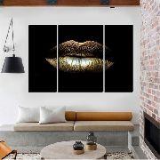 Quadro Decorativo Moderno Abstrato Boca Dourada Fundo Preto