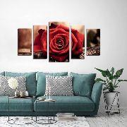 10 Quadro Decorativo Flor Rosa Vermelha 5 Peças Atacado