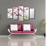 10 Quadro Decorativo Galho De Orquídea 5 Peças Atacado