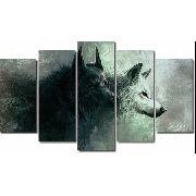 10 Quadro Decorativo Animal Lobos Alcateia 5 Peças Atacado