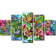 10 Quadro Decorativo Borboleta Flores 5 Peças Atacado