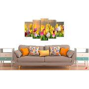 10 Quadro Decorativo Flores Tulipa Colorida 5 Peças Atacado