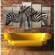 10 Quadro Decorativo Casal Zebra 5 Peças Atacado