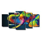 10 Quadro Decorativo Elefante Arte Moderna 5 Peças Atacado