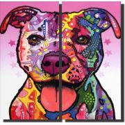 Quadro Cachorro Pitbull Moderno 2 Peças