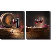 Quadro Decorativo Vinho Adega e Taça 2 Peças Para Sala