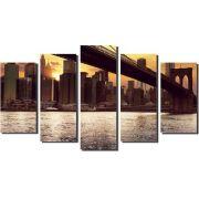 Quadro Nova Iorque ponte cidade edifício noite 5 Peças