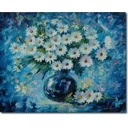 Quadro Margaridas brancas  No Vaso Impressionista 80x100 cm