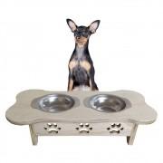 Comedouro Animal Cachorro Porte Pequeno Pet Madeira E Inox