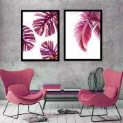Conjunto de 2 Quadros Folhagens Plantas Rosa Moderno 45x60cm