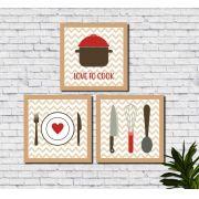 Conjunto de 3 Quadros de Cozinha Gourmet Talheres 30x30cm