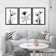Conjunto de 3 Quadros Flores Minimalistas Plantas Pretas 45x60cm