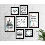 Kit 7 Quadros Decorativos Frases marinheiro abstrato