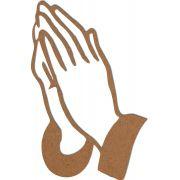Escultura de Parede Quadro Mãos Rezando Religioso Mdf 6mm