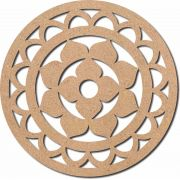 Escultura em Mdf Recorte Mandala Flor 60x60 M7