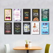 Kit 10 Placas Decorativas Frases Comida