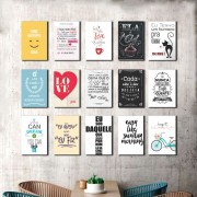 Kit 15 placas Decorativas Varias Frases