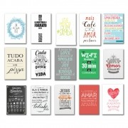 Kit 15 placas Decorativas Varias Frases M2