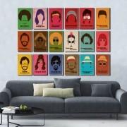 Kit 18 Placas decorativas Personalidades Famosas