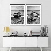 Kit 2 Quadros Decorativos Barcos na Praia
