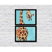 Quadros Decorativos Girafa Divertida Colorida