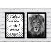 Quadros Decorativos Leão e Frase Preto E Branco