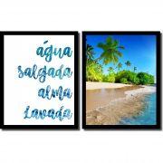 Quadros Decorativos Paisagem Praia e Frase