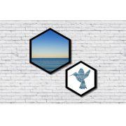 Kit 2 Quadros Hexagonais Mar e Pássaro Geométrico