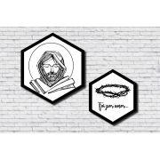 Kit 2 Quadros Hexagonais Religioso Jesus Preto e Branco