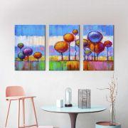 Kit 3 Quadros Decorativos Abstratos Arvores Balões
