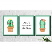 Kit 3 Quadros Decorativos Cactos Fofos Verde