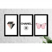 Kit 3 Quadros Decorativos Chanel Borboleta e Diamante