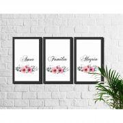 Kit 3 Quadros Decorativos Família Amor Alegria