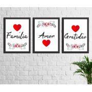 Kit 3 Quadros Decorativos Família Amor Gratidão Frases