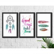 Kit 3 Quadros Decorativos Filtro dos Sonhos e Penas Coloridas