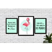 Kit 3 Quadros Decorativos Flamingo Verde e Frases