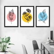 Kit 3 Quadros Decorativos Flores Minimalistas
