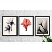Kit 3 Quadros Decorativos Flores Minimalistas Alaranjada