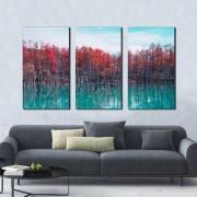 Kit 3 quadros Decorativos Floresta na Água
