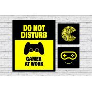Kit 3 Quadros Decorativos Gamer Geek Frases