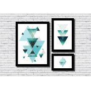 Kit 3 Quadros Decorativos Geométrico Triângulos Azul