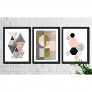 Kit 3 Quadros Decorativos Geométricos Abstratos Neutros