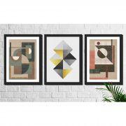 Kit 3 Quadros Decorativos Geométricos Coloridos