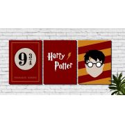 Kit 3 Quadros Decorativos Harry Potter Hogwarts
