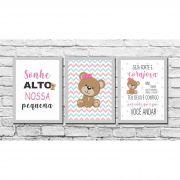 Kit 3 Quadros Decorativos Infantil Ursinha Baby Rosa Personalizado