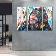 kit 3 Quadros Decorativos Macaco Moderno Colorido