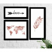 Kit 3 Quadros Decorativos Mapa Pena Love Rose