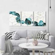 Kit 3 Quadros Decorativos Mármore Abstrato Azul