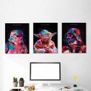 Kit 3 Quadros Decorativos Moderno Star Wars